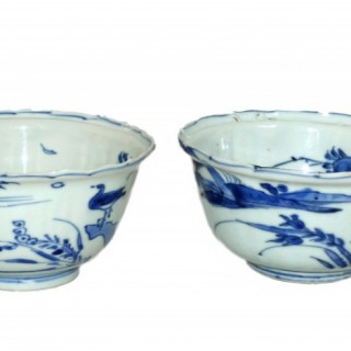 Chinese Ming Kraak Blue and White Crow Cup