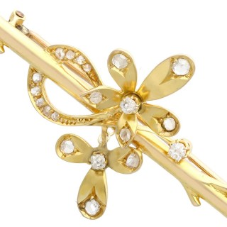 0.45ct Diamond and 18ct Yellow Gold Brooch - Antique Circa 1910