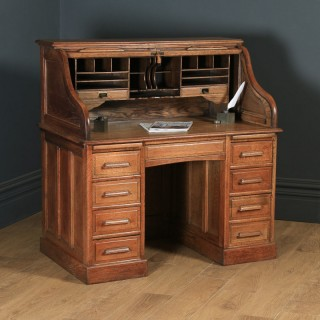 Antique English Edwardian 4ft Solid Oak Roll Top Pedestal Office Desk (Circa 1910)