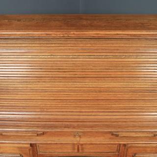 Antique English Edwardian 4ft Solid Oak Roll Top Pedestal Office Desk (Circa 1910)