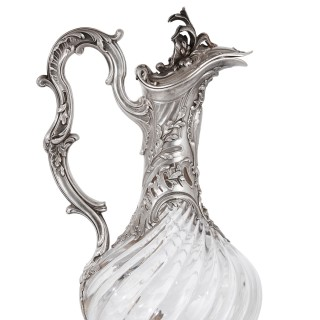 Two glass and silver ewers by Victor Boivin