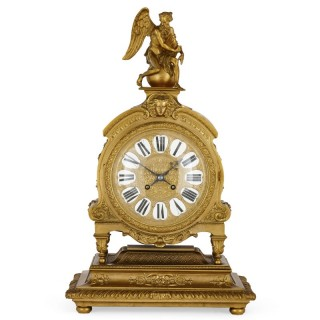 Gilt-bronze clock with enamel numerals attributed to Henri Picard