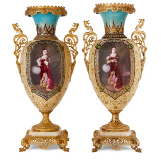 Near pair of porcelain vases with Chinoiserie detailing