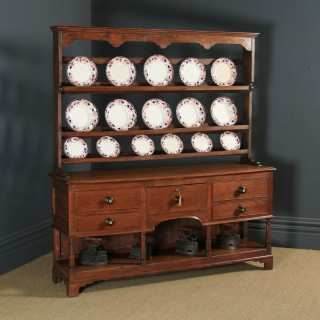 Antique Welsh Georgian Oak Dresser Base Sideboard Potboard & Rack (Circa 1810)