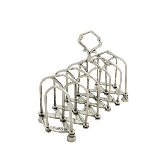 Unusual Antique Victorian Sterling Silver Expanding Toast Rack 1883