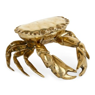 Unusual English crab-shaped brass inkstand