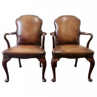 Pair of 19th Century Mahogany Queen Anne Style Leather Armchairs