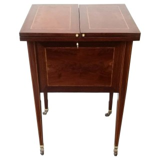 Late 19th Century Mahogany Inlaid Pop Up Surprise Bar / Drinks Table