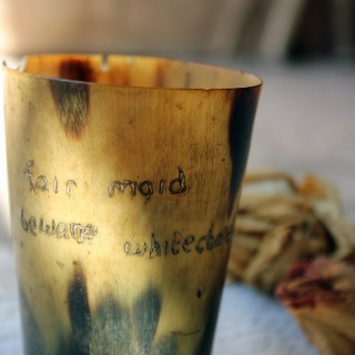 Jack the Ripper: A 19thC Horn Beaker; 'Fair Maid Beware Whitechapel 1888'