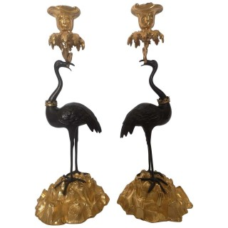 Pair Of Early 19th Century English Bronze And Gilt Stork Candlesticks By Abbott