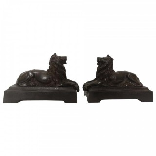 Pair Of 19th Century English Bronze Lions