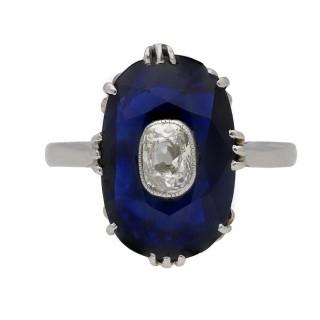 Art Deco sapphire ring with diamond set centre, circa 1920.