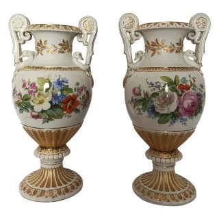 Pair Of Large 19th Century Meissen  Porcelain Floral Vases