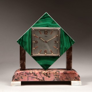 Art Deco Polished Stone Arthur Imhof Swiss Desk Clock