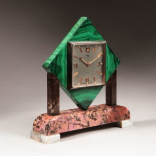 Art Deco Polished Stone Arthur Imhof Swiss Desk Clock