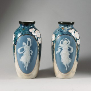 Pair of Art Deco Limoges Porcelain Vases by Camille Tharaud
