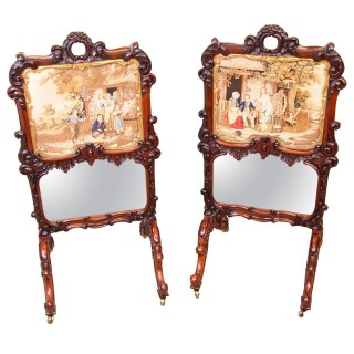 19th Century Regency Rosewood Pair Of Fire Screens