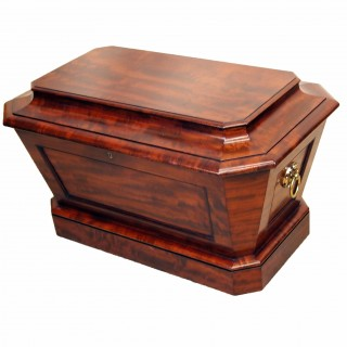 Regency English Mahogany Sarcophagus Shaped Wine Cooler
