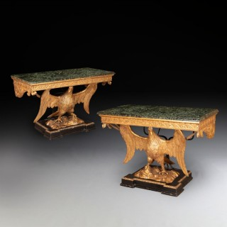 A Pair Of George II Style Giltwood Eagle Consoles