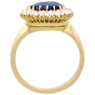 4.50ct Sapphire and 1.46ct Diamond, 18ct Yellow Gold Cluster Ring/Brooch - Antique Circa 1900