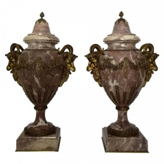 Large Pair of 19th Century French Marble and Gilt Bronze Cassolettes
