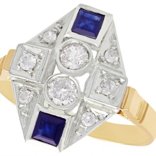 0.30 ct Diamond and 0.42 ct Sapphire, 15 ct Yellow Gold Dress Ring - Art Deco Style - Vintage Circa 1950