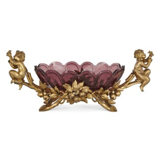 Christofle gilt metal and purple glass cherub-handled centrepiece bowl