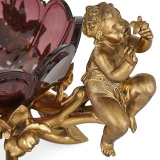 Christofle gilt metal and purple glass cherub-handled centrepiece bowl