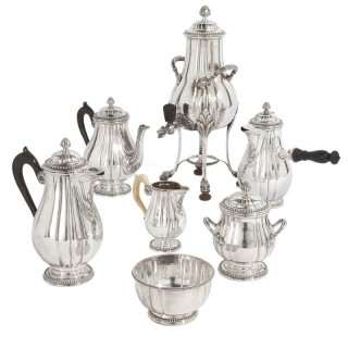 French Neoclassical style seven-piece coffee and tea set