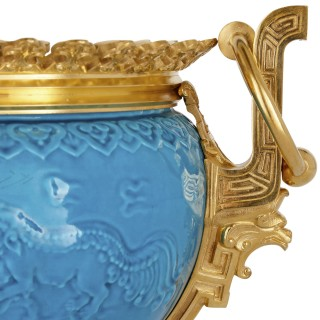 French Chinoiserie style gilt bronze and faience jardinière