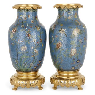 Pair of Chinese cloisonné enamel and French ormolu mounted vases