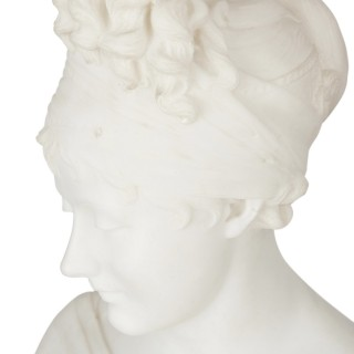 Neoclassical marble sculpture bust after Joseph Chinard