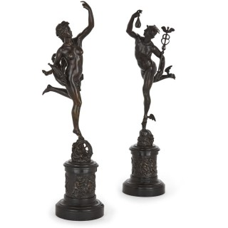 Pair of bronze sculptures of Mercury and Fortuna