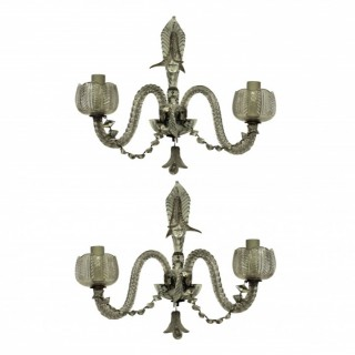 A PAIR OF FRENCH CUT GLASS WALL LIGHTS