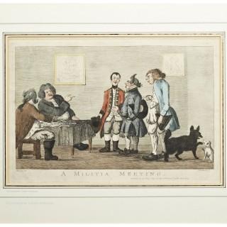 Bunbury Engraving - A Militia Meeting