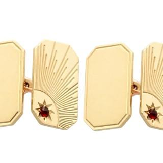 Hessonite Garnet and 9 ct Yellow Gold Cufflinks - Art Deco Style - Vintage 1964