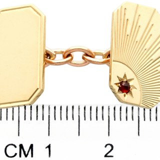 Hessonite Garnet and 9 ct Yellow Gold Cufflinks - Art Deco Style - Vintage 1964