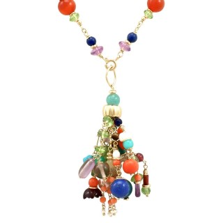 Multi Gemstone and 18 ct Yellow Gold Necklace - Antique Circa 1930