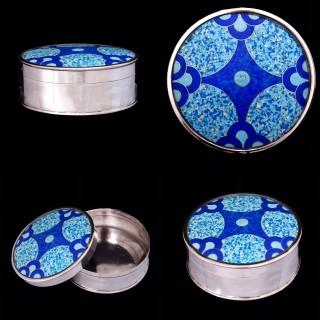 A silver and enamel art deco box