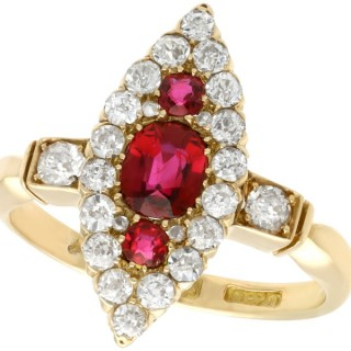 1.00 ct Siam Ruby and 1.12 ct Diamond, 18 ct Yellow Gold Dress Ring - Antique Edwardian (1903)