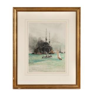 Charles Edward Dixon 'Coaling, Portsmouth Harbour'