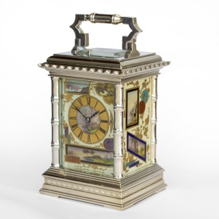 Aesthetic Movement Porcelain & Silver Carriage Clock