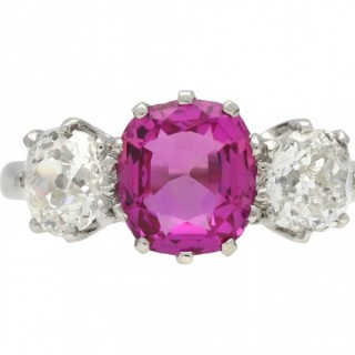 Edwardian Ceylon pink sapphire and diamond three stone ring, English, circa 1910.