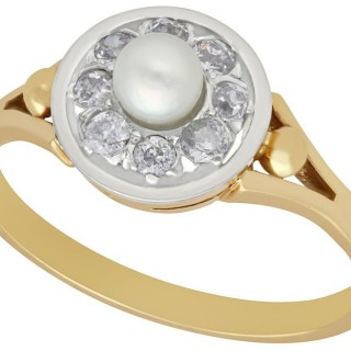 Pearl and 0.36 ct Diamond, 14 ct Yellow Gold Dress Ring - Antique Circa 1920