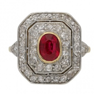 Edwardian ruby and diamond cluster ring, English, circa 1905.