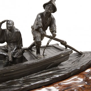 Large Japanese Bronze Boat with Figures in, 19th Century