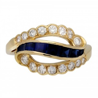 Vintage sapphire and diamond ring by Oscar Heyman Brothers, American, circa 1970.