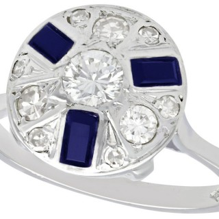 0.55ct Diamond & 0.32ct Sapphire, 18ct White Gold Dress Ring - Art Deco - Vintage Circa 1940