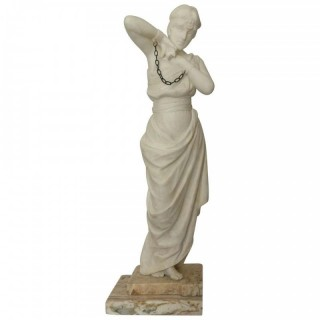 Large 19th Century Marble of a Slave Woman by Pugi