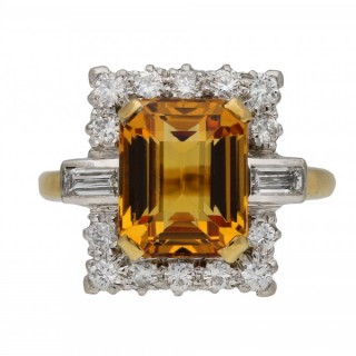 Topaz and diamond cluster ring, circa 1950.